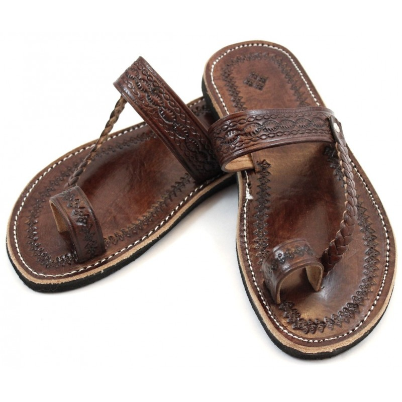 Moroccan Flip-Flops Made Of Brown Leather-3749