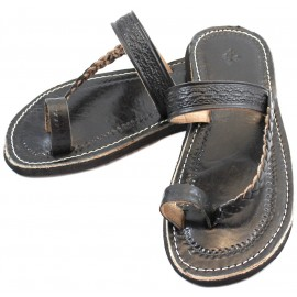 Moroccan flip-flops made of Black Leather