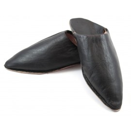 Tapered slippers made of Black leather for Men