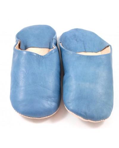 Babouche marocaine en cuir souple bleu