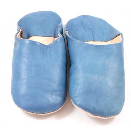 Babouches en cuir souple bleu