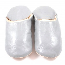 Moroccan slippers in soft grey leather