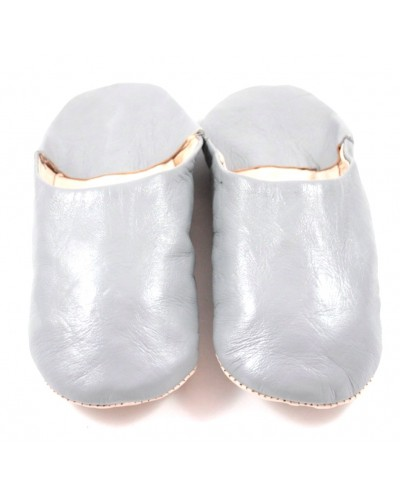 Moroccan slippers made of grey soft leather