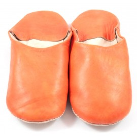 Moroccan slippers made of orange leather