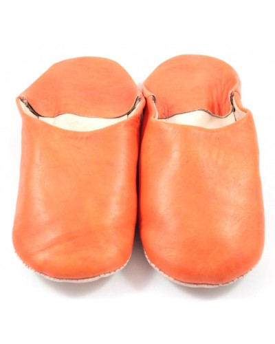 Moroccan slippers in soft orange leather