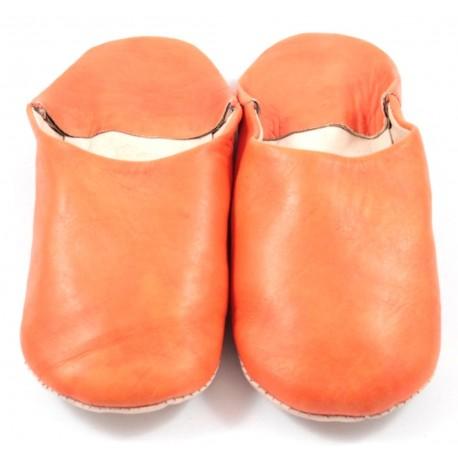 Babouches en cuir souple orange