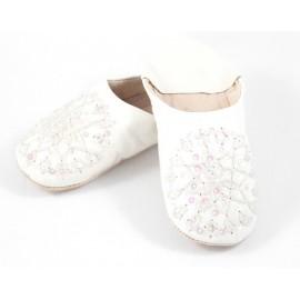 Babouche Selma paillettes blanche