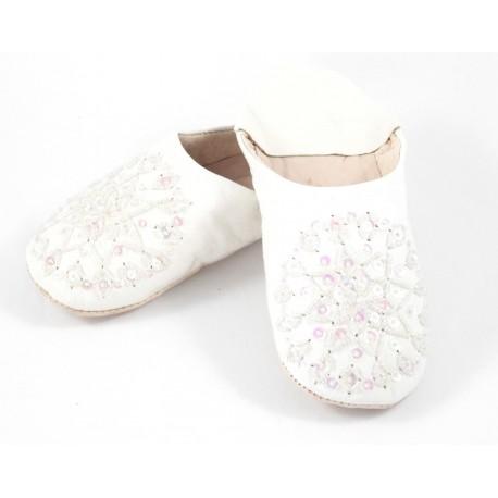 Babouches femmes paillettes blanches