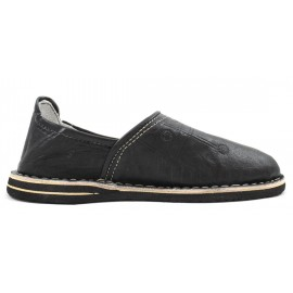 Berber leather slippers in black