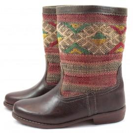 Bottes kilim tapis berbere Wafaa en cuir marron
