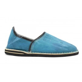 Berber leather slippers in turquoise