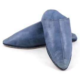 Men's pointed blue leather slippers