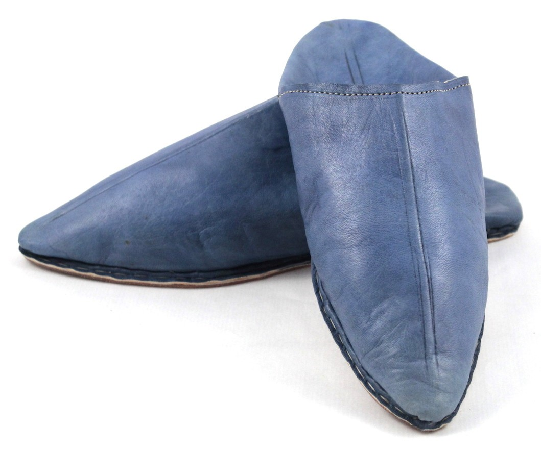 8ff2849f2e3a7 Babouche homme pointue en cuir bleu