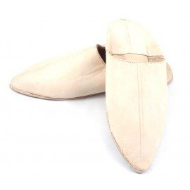 Men's pointed natural leather slippers