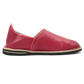 Berber leather slippers in red