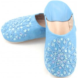 Blue selma slippers with sequins