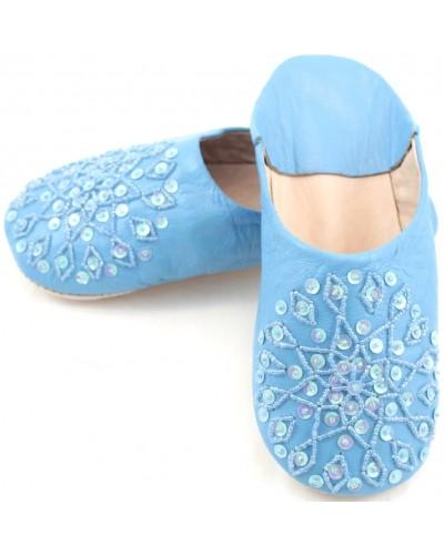 Selma Slippers in Blue Glitter