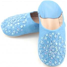 Babouche Selma paillettes bleue