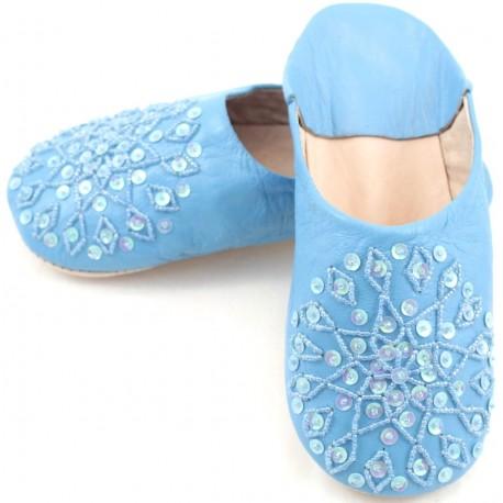Babouches femmes paillettes bleues