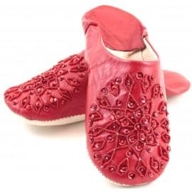 Babouche Selma paillettes rouge
