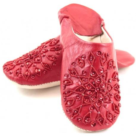 Babouches femmes paillettes rouges