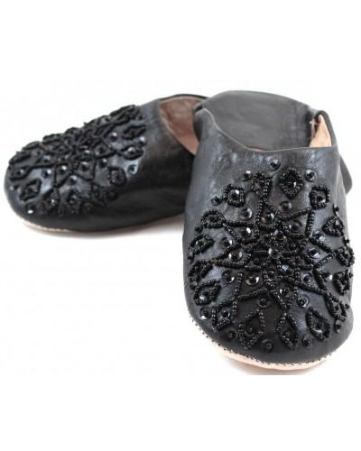 Selma Slippers in Black Glitter