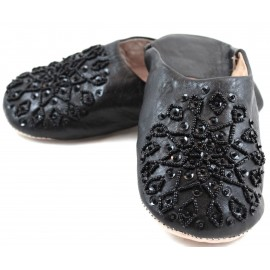 Selma Slippers in Black Glitter