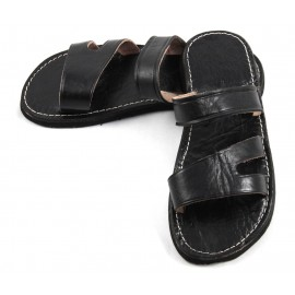 Marokkanische Männersandalen aus schwarzem Leder