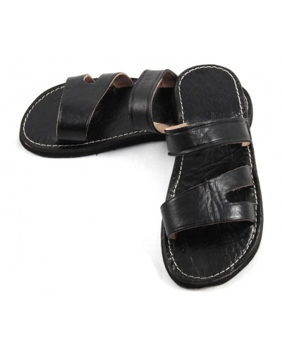 Moroccan Sandals made of Black Leather for Men
