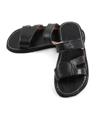 Sandalias marroquíes de cuero negro para caballero