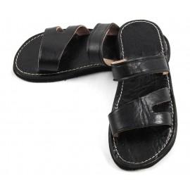 Sandales homme marocaines en cuir noir