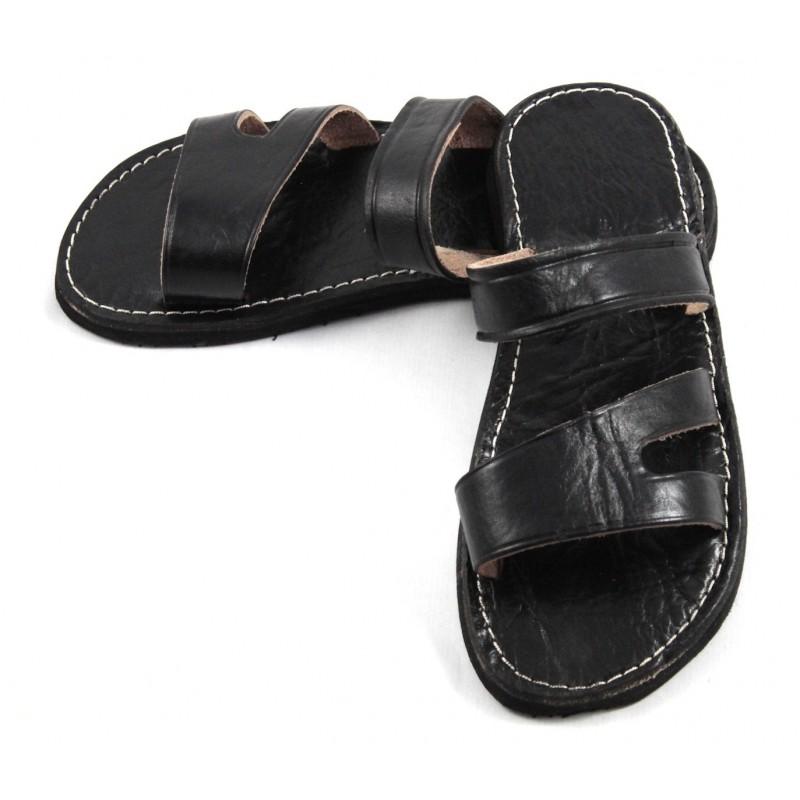 sandales marocaines homme en cuir noir. Black Bedroom Furniture Sets. Home Design Ideas