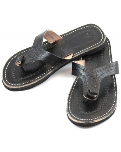 Marrakech flip-flops in black leather