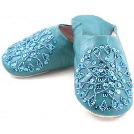 Babouche Selma paillettes turquoise