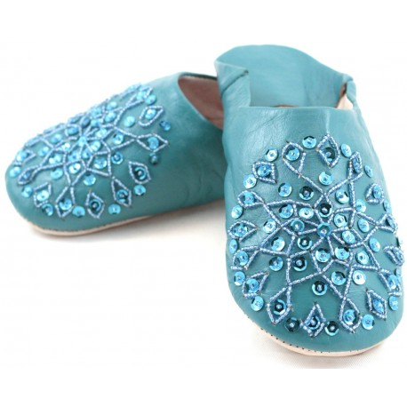 Babouches femmes paillettes turquoises