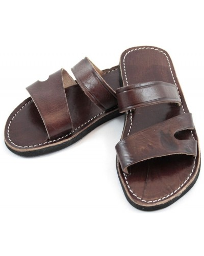Men's Moroccan sandals in brown leather