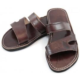 Sandales homme marocaines en cuir marron