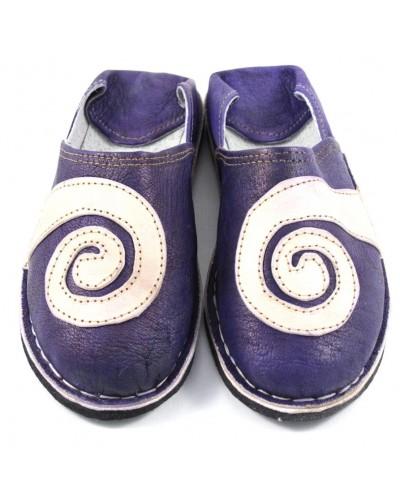 Leder-Babouches mit Spirale- violett und naturfarben
