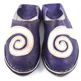 Babouches spirales en cuir violet et naturel