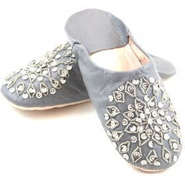 Selma Slippers in Grey Glitter