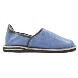 Babouche Berbère en cuir bleu