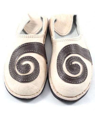 Spiral slippers made of Beige and Brown leather