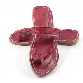 Moroccan flip-flops in red leather