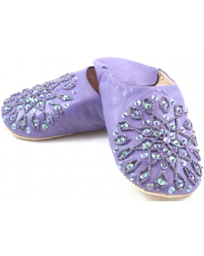 Babouches Selma mit violetten Pailletten