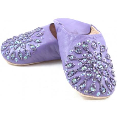 Babouches femmes paillettes violettes