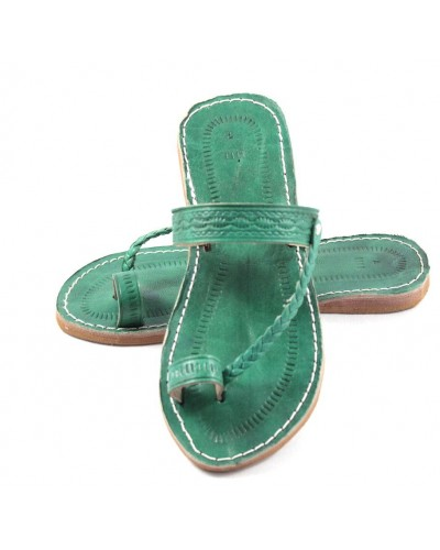 Moroccan flip-flops in green leather