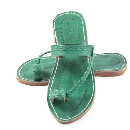 Tongs marocaines en cuir vert