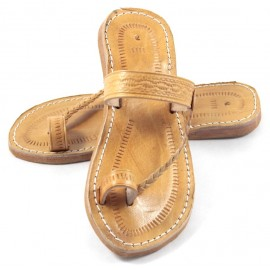 Moroccan Flip-Flops made of Caramel Leather