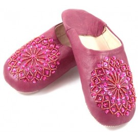 Fuchsia selma slippers with sequins