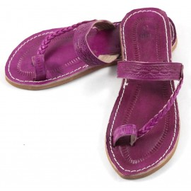 Moroccan Flip-Flops made of Fushia Leather